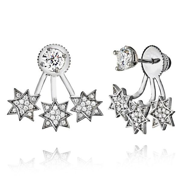 18k Goldplated Sterling Silver Triple Star Cubic Zirconia Jacket Earrings