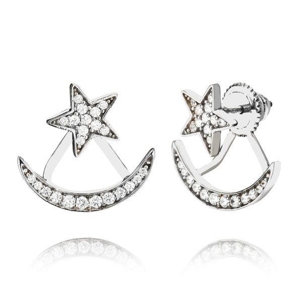 18k Gold or Black Rhodium-plated Sterling Silver Star and Moon Cubic Zirconia Jacket Earrings