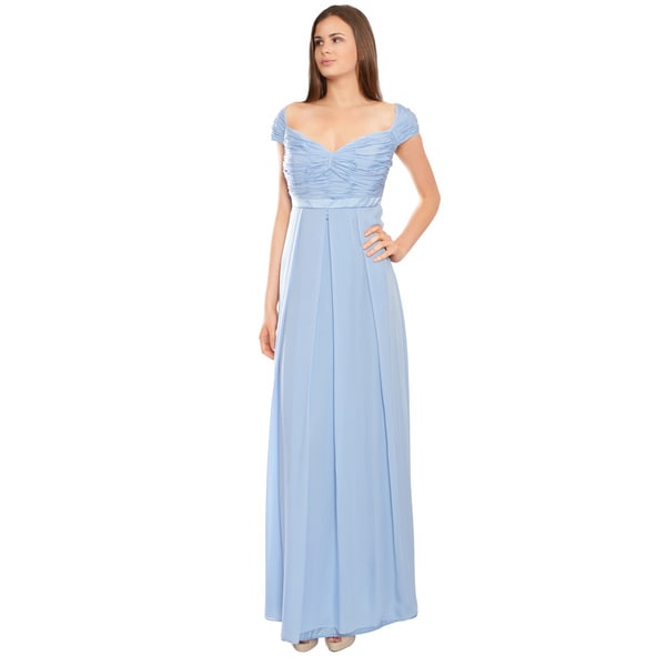 Escada Light Blue Silk Georgette Ruched Cap Sleeve Evening Dress