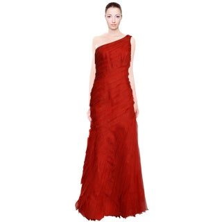 Liancarlo Couture One Shoulder Red Tiered Svelte Fitted Evening Dress