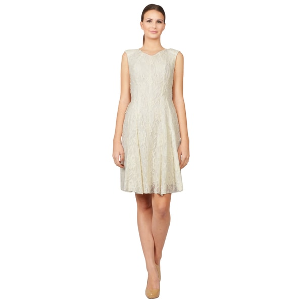 Nina Ricci Ivory Embroidered Lace Ruffled Back Panel Cocktail Dress