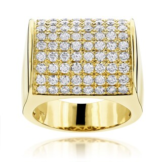 Luxurman 14k Gold Men's 4ct TDW Diamond Pave Wedding Ring (H-I, SI1-SI2)