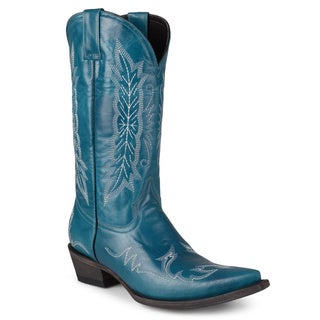 Journee Collection Women's Embroidered Handmade Leather Cowboy Boots