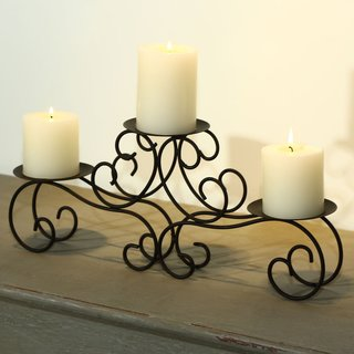 Adeco Brown Iron Table Desk Top Candle Holder