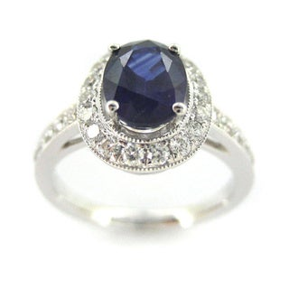 Kabella 18k White Gold Sapphire and 1/2ct TDW Diamond Ring (G-H, SI1)