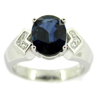 Kabella Platinum Oval Sapphire and 1/5ct TDW Diamond Ring (G-H, SI1-SI2)