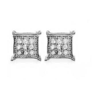 Sterling Silver Round Diamond Accent Square Shape Stud Earrings