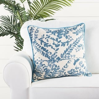 Handmade floral Pattern Cotton Blue 18-inch Throw Pillow (Set of 2)