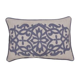 """Handmade Floral Pattern Linen Throw Pillow 16""""x24"""" (Set of 2)"""