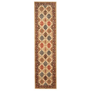 Herat Oriental Indo Hand-tufted Tibetan Ivory/ Brown Wool Rug (3' x 12')