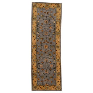 Herat Oriental Indo Hand-tufted Mahal Light Blue/ Beige Wool Rug (2'10 x 5'10)