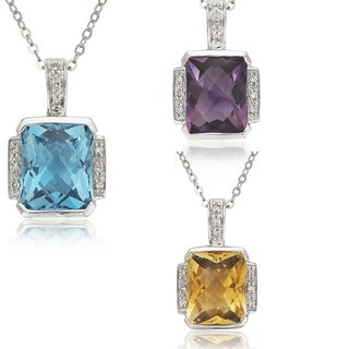 14k White Gold Emerald-cut Gemstone and Diamond Accent Necklace