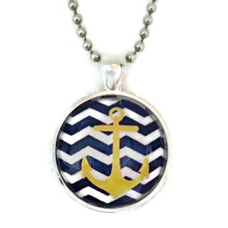 Atkinson Creations Navy Chevrons with Nautical Yellow Anchor Glass Dome Pendant Necklace