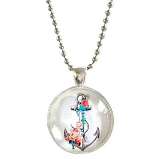 Atkinson Creations Nautical Anchor Glass Dome Necklace