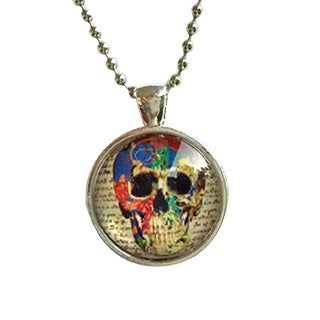 Atkinson Creations Skull of Knowledge Glass Dome Necklace