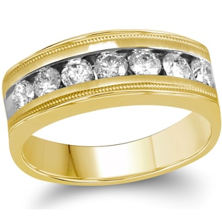 10k Yellow Gold Men's 1ct TDW Diamond Wedding Band (G-H, I1-I2)