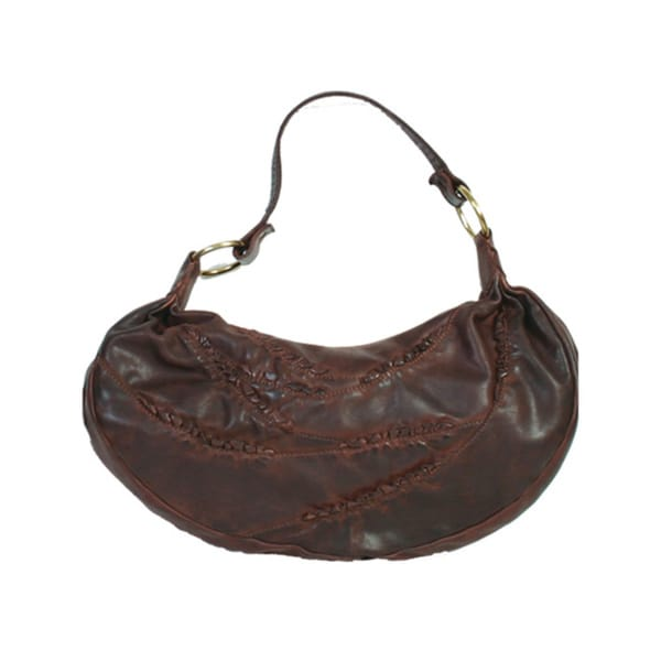 Distressed Brown Leather Handbag