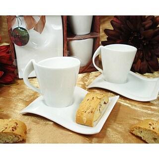 D'Lusso Designs Four Piece Biscotti Saucer Espresso Set