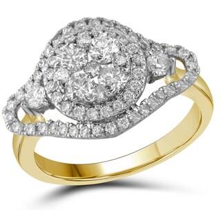 10k Gold 1 1/5ct TDW Round-cut Diamond Cluster Flower Engagement Ring (H-I, I1-I2)