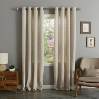 Aurora Home Herringbone Grommet Top Curtain Panel Pair