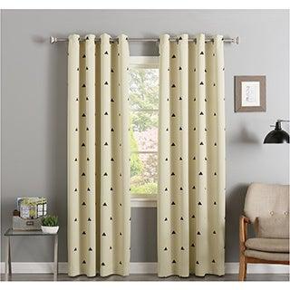 Aurora Home Small Triangle Print Room-Darkening Silver Grommet-Top Curtain Panel Pair