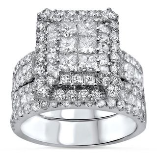 Noori 14k White Gold 3 2/5ct TDW Princess-cut Pave Diamond Bridal Ring Set (G-H, SI1-SI2)