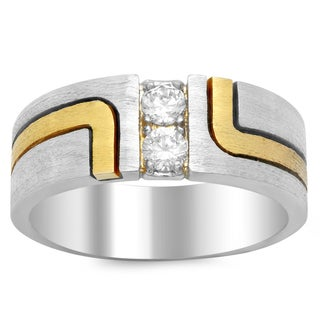 14k Two-tone Gold Men's 3/8ct TDW Wedding Diamond Band (F, SI1)