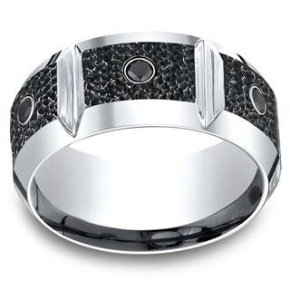 Cobalt Men's 1/5ct TDW Black Diamond Horizontal Groove Blackened Hammer 10mm Ring