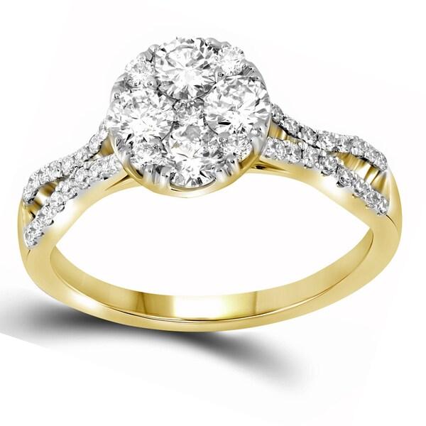 10k Gold 1ct TDW Round Diamond Cluster Engagement Ring (H-I, I1-I2)