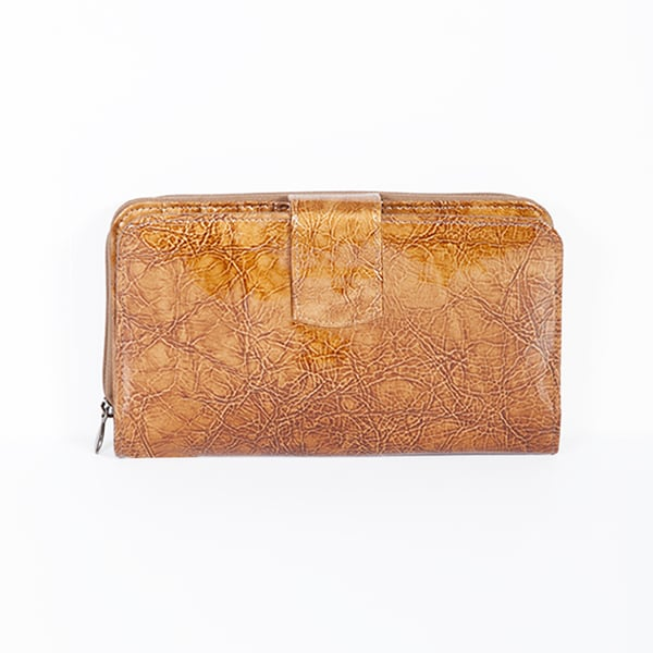 Light Brown Leather Maxi Zip Wallet