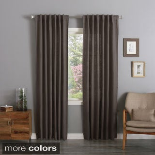 Aurora Home Textured Linen Back Tab and Rod Pocket Curtain Panel Pair
