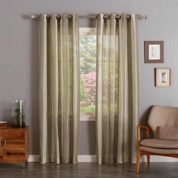 Cotton Blend Linen Look Mesh Stripe Bronze Grommet Top Curtain Panel Pair