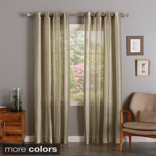 Aurora Home Cotton Blend Linen Look Mesh Stripe Bronze Grommet Top Curtain Panel Pair