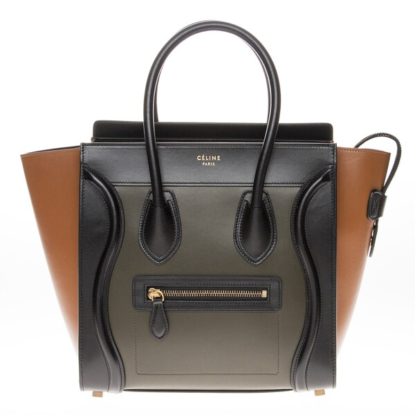 Celine Micro Black/ Green/ Tan Luggage Tote