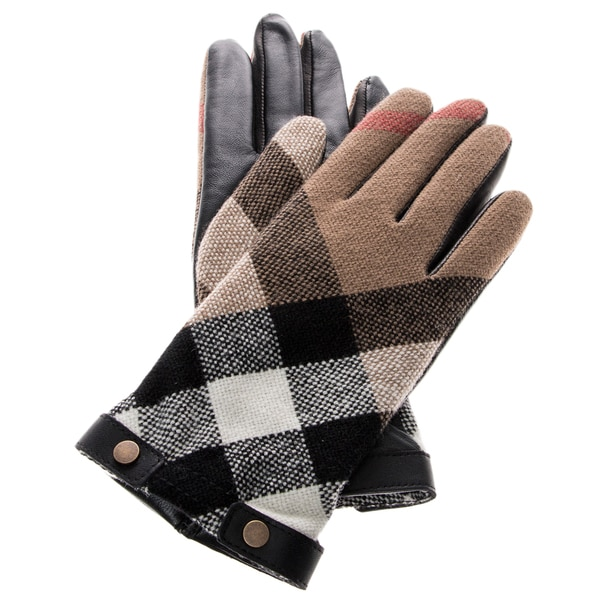 Burberry Check Wool and Leather Touch Screen Gloves