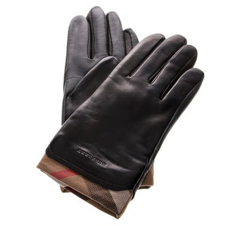 Burberry Check Trim Leather Gloves