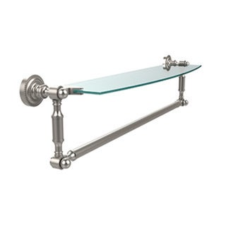 Dottingham 24-inch Glass Vanity Shelf with Integrated Towel Bar