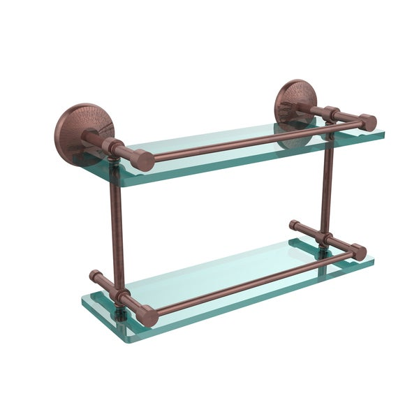 Monte Carlo 16-inch Double Glass Shelf with Gallery Rail