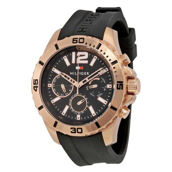 Tommy Hilfiger Men's 1791145 Sport Round Black Silicone Strap Watch