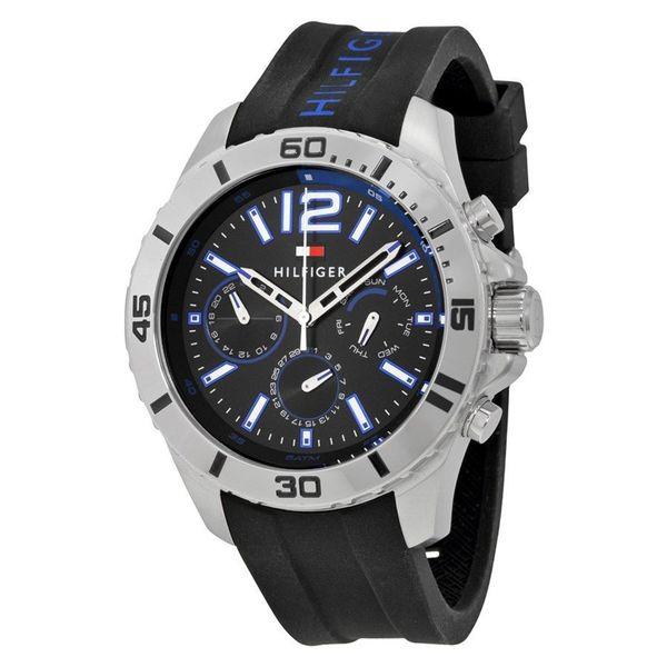 Tommy Hilfiger Men's 1791143 Sport Round Black Silicone Strap Watch