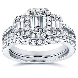 Annello 14k White Gold 1 1/2ct TDW Three Stone Emerald Shape Diamond Bridal Rings Set (H-I, SI)