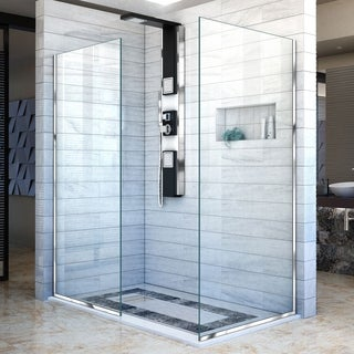 Linea Frameless Shower Door. Two Glass Panels: 34 in. x 72 in