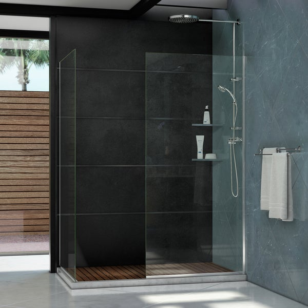Linea Frameless Shower Door. Two Glass Panels: 30 in. x 72 in.