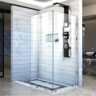Linea Frameless Shower Door. Two Attached Glass Panels: 30 in. x 72 in