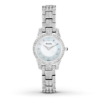 Bulova Women's Mother Of Pearl Dial Diamond Stainless Steel Watch 96L149