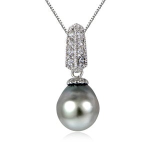 Glitzy Rocks Sterling Silver 11mm Tahitian Cultured Pearl and White Topaz Drop Necklace