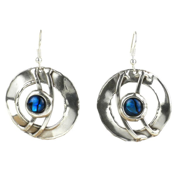 Ripple Effect Paua Shell Silverplated Earrings (South Africa)
