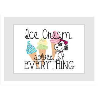 "Marmont Hill - ""Belle Ice Cream Solves Everything"" Peanuts Framed Art Print"