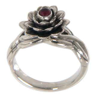 Handcrafted Sterling Silver 'Red Eyed Lotus' Garnet Ring (Indonesia)