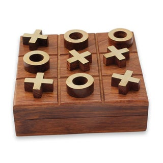 Handcrafted Brass Seesham Wood 'Challenge' Tic-tac-toe (India)